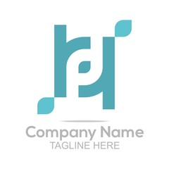 Logo Design Company Name Letter P Leaf Symbol Icon Abstract Vector