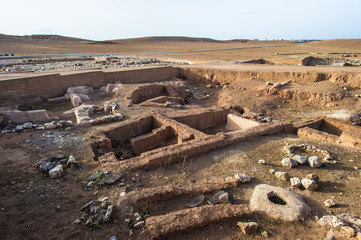 Excavations of the an old city in the desert of Syria