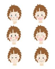 表情、パターン、喜怒哀楽、日本人、男の子、10代、少年、小学生、中学生