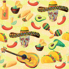 Mexican seamless music pattern with skulls, sombrero hat, mustache, maracas, guitar, taco, tequila, lime, fajitas, nachos, avocado, cactus and chill pepper vector background