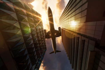 Airplane above Skyscrapers