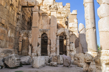 Baalbek, a town in the Beqaa Valley of Lebanon situated east of the Litani River. Ruins of the Roman period.