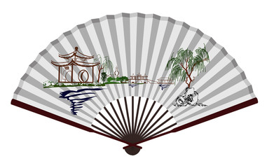 Ancient Chinese fan with Scenic Spot