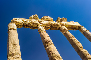 Roman ruins of Baalbek, Lebanon. Wonders of the ancient world, containing some of the largest and best preserved Roman ruins.
