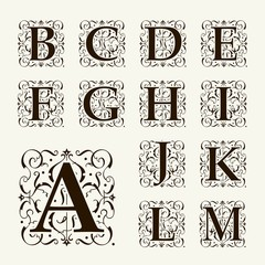 Vintage set capital letters,  Monograms and beautiful  font.
