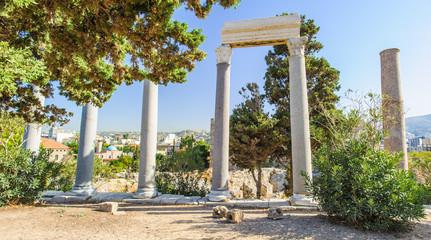 Columns Byblos, Lebanon. UNESCO World Heritage