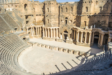 The 2nd century Roman theater, constructed probably under Trajan. Ancient City of Bosra, UNESCO World Heritage,