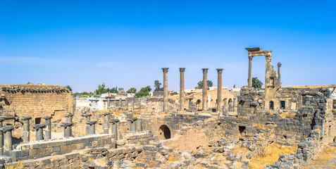 Roman ruins north of the citadel. City of Bosra, Syria. UNESCO world heritage