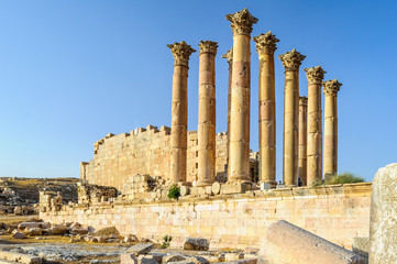 Roman ruins in the Jordanian city of Jerash,