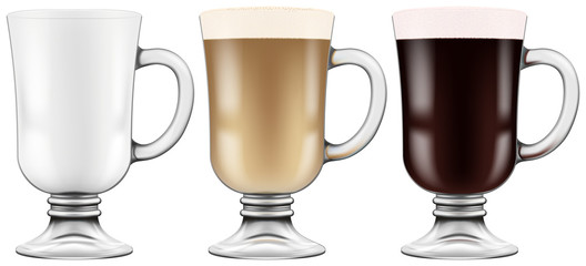 Coffee glass cups. Photo-realistic vector illustration.