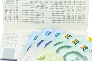 Saving Account Passbook with Thai money