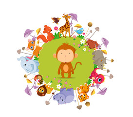 funny animals on the ground round background