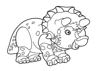 Cartoon triceratops - coloring page
