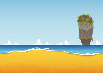Khao Tapu, Thailand. Beach, island, seascape with sea and sand texture. Background for summer tropical poster. Vector Illustration