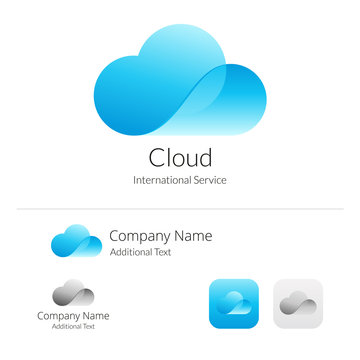 Cloud Stylish Logo Icon and Button Concept Set