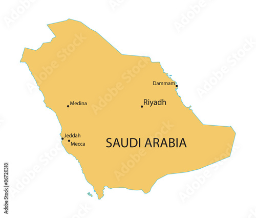 yellow map of saudi arabia with indication of largest cities stock