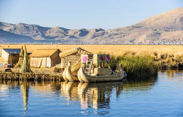 Tourist Islands of lake Titicaca, Puno, Peru South America