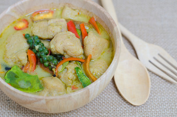 Green curry fish balls is Thai cuisine.