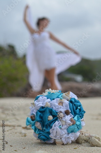 Marine Themed Wedding Bouquet And A Bride Stock Photo And Royalty