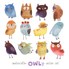 watercolor vector owls set