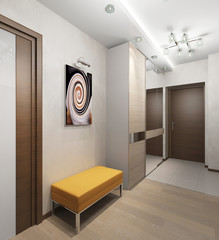 Interior hallway with doors and a stool with upholstered seat