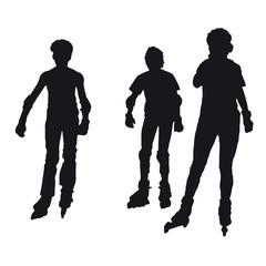 Rollschuhfahren - drei teenager fahren in der Freizeit inline skater und treiben Sport - schwarze Silhouette