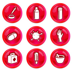 Medicine and health vector buttons