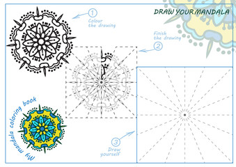Unique coloring book, rectangular A4 page. Hand drawing zentangle color element