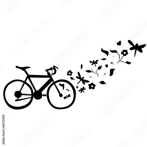 """cycling floral wall decal vector illustration"""" stock image and"""