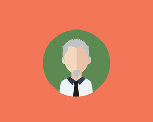 Flat avatar icon on color background