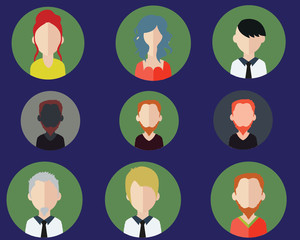 Flat people avatar icons on color background (vector collection)