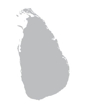 grey vector map of Sri Lanka