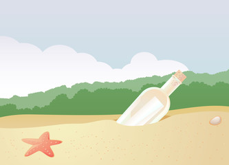Message in a bottle on the beach vector image