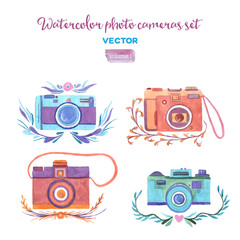 Watercolor vector photo cameras set.