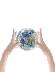 Hand holding earth on dark light background , Elements of image are furnished by NASA
