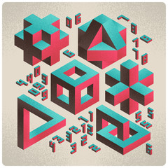 Isometric abstract geometry design elements with numbers font on light background