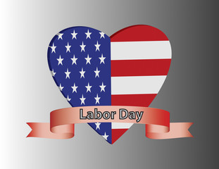 Labor Day Heart with USA Flag inside