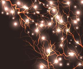 Lightning bolt at night vector illustration background