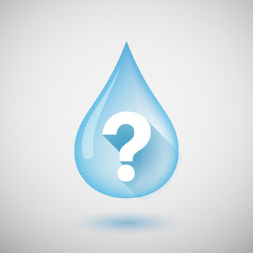 Long shadow water drop icon with a question sign