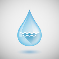 Long shadow water drop icon with a water sign