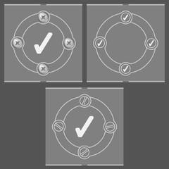 Set of three flat frames and check box
