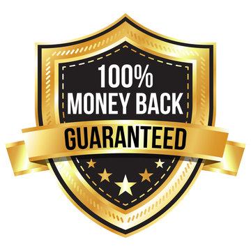 Gold 100% Money Back Guaranteed Shield and Ribbon