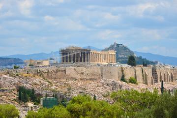 Plan large des collines de l'Acropole et du  Lycabette à Athènes