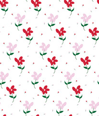 Vector abstract seamless geometric floral background. Vector seamless pattern on the background. Multi-colored flowers.