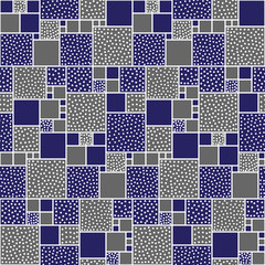 Vector seamless pattern of squares decorated with circles and squares. Blue backing with white pieces.