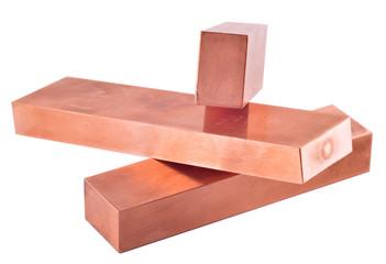 Copper ingots. Copper electrodes
