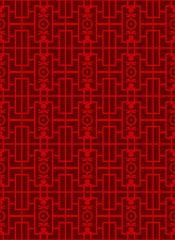 Seamless Vintage Chinese style window tracery square flower line pattern background.
