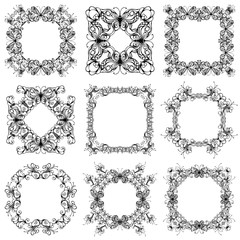 Vector set of vintage frames of flowers and butterflies.
