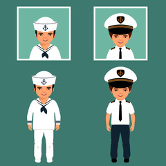pirate, captain and sailor characters, vector cartoon illustration,