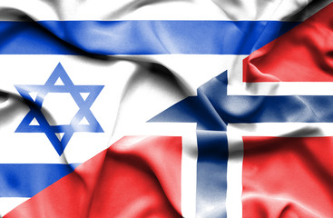 Waving flag of Norway and Israel